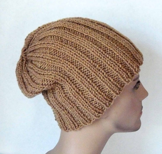 Knitting PATTERN Knit Slouchy Beanie Hat Pattern Mens Teens  53ca7104af1