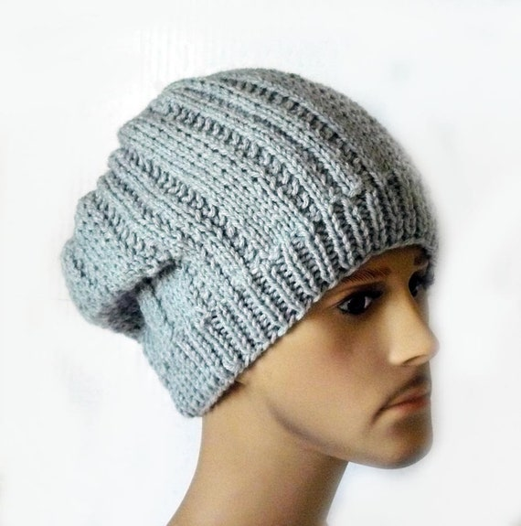 Knitting Pattern Knit Slouchy Beanie Hat Pattern Mens Knit Etsy