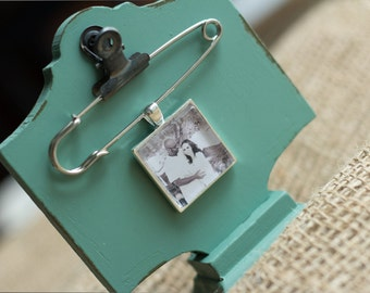 Boutonniere Photo Charm, Groom Memorial Photo Charm- Silver- PICTURE PRINTING INCLUDED