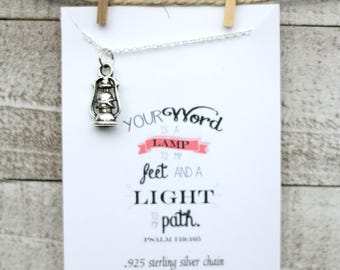 Your Word is a Lamp to my Feet Necklace - Christian Jewelry - Lantern Necklace