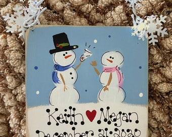 Engagement Ornament, Engagement Gift, Wedding Ornament; Personalized Engagement Ornament; Personalized Snowman Ornament