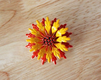 1960's Red and Yellow Enamel Flower Brooch