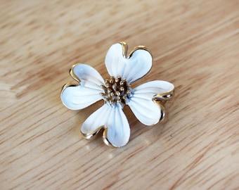 1960's White Enamel Dogwood Flower Brooch