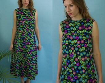 1960's/70's Vintage Handmade Sleeveless A-Line Cut Flower Power Dress Hippie Boho Flower Child Summer of Love Dress