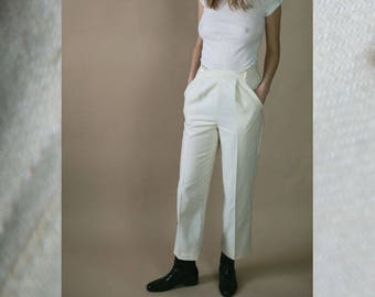 1970's Vintage High Waisted Slacks Off White Pleated Dress Pants by Russ Union Made Neutral Minimalist Chic