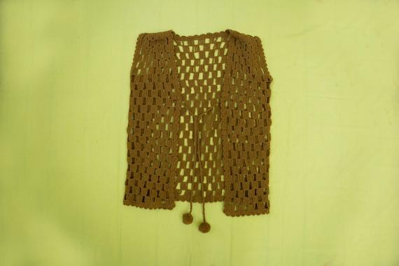 70's Camel Crochet Knit Bohemian Vest