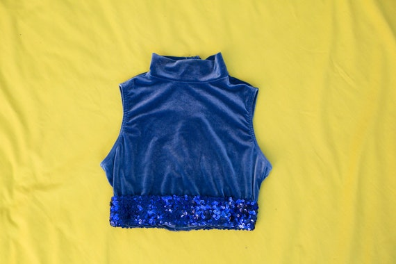 70's Dance Wear Crop Top, stretch velvet, mockneck