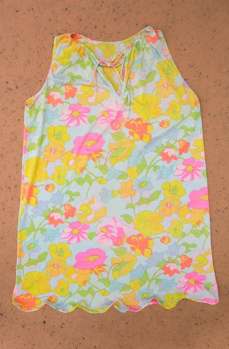 70/'s Vintage Neon Pastel Floral Slip Dress Sorta Sheer w Tie Collar