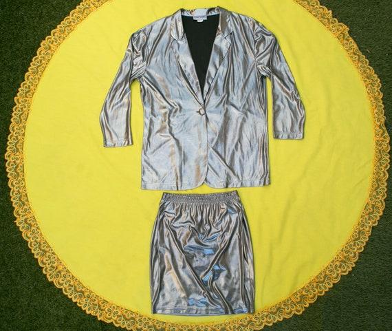 80's Two Piece Silver Skirt Suit, blazer, mini ski