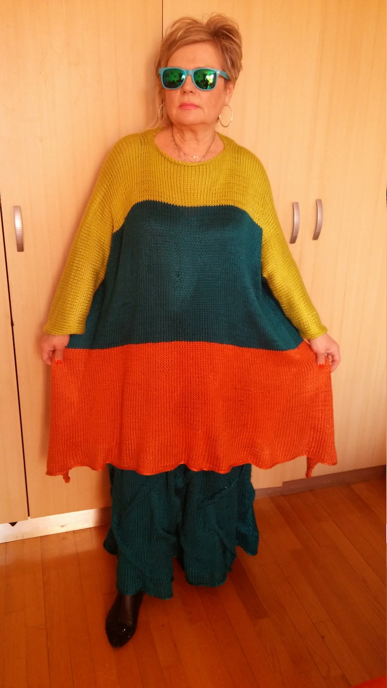 ON HOLD for LEAH.Asymmetrical Knitted Lagenlook 3 colors long sleeves TunicSweater