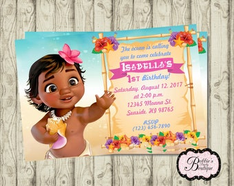 Baby Moana Birthday Invitation Printable DIY