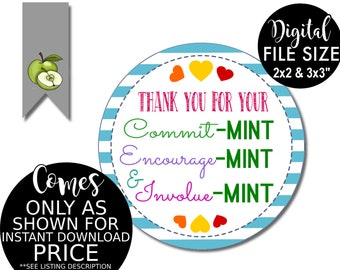picture relating to Thank You for Your Commit Mint Printable called Printable Thank By yourself Tags Volunteer Mint Labels Printable Etsy
