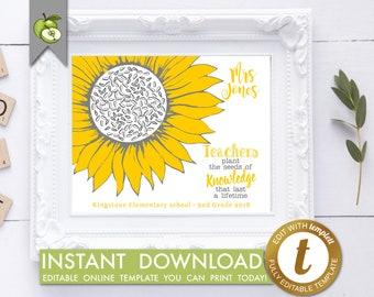 editable Sunflower art, Teacher Appreciation, teacher gift, teachers plant the seeds of knowledge, sunflower quote, fingerprint, printable