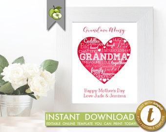 editable word art heart, custom mother's day printable, gift for Grandma, Christmas gift for Granny, grandma, grandmother, mimi, Heart,