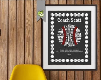 Baseball coach gift, Coach Appreciation gift, Coach retirement, signing, team gift, T-Ball, Softball, Personalised Printable, Digital, BB1