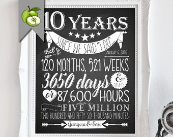 10th anniversary gift, printable, sign, 10 year anniversary gift, husband, Subway, gift for wife, tenth, tin, Aluminum anniversary, custom