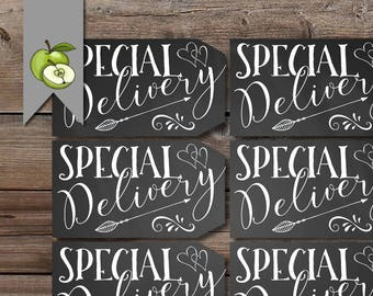 special delivery tag, baby shower favor tag, kids valentine, gender reveal, favor tag, happy valentines, class tags, printable, love tag