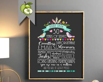 Retirement gift, Leaving gift, Boss Retirement gift,  fully personalised, printable ideal, teacher, office worker, colleague, friend etc