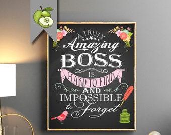 bd96a585 boss appreciation week, Retirement Boss gift, Female boss, A truly amazing  Boss is hard to find, Boss gift, Boss week, Boss Day, Printable