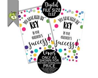 staff successful students volunteer Key to our success key tags best teacher key theme Printable Boss Appreciation key fob card