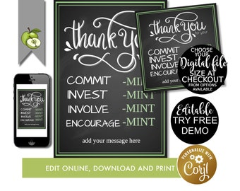 photograph regarding Thank You for Your Commit Mint Free Printable identified as Mint appreciation Etsy