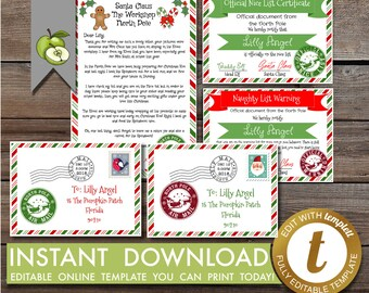 santa letter printable nice certificates christmas reward certificate santas nice list letter from santa template pdf editable