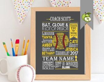Softball coach gift, coach Appreciation, soft ball team gift, softball printable, softball team, custom, coach Leaving gift, retirement, SB1