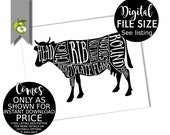 Beef cow Butcher Diagram kitchen Printable, Kitchen Print, Butcher Chart, Kitchen Art, Butcher Diagram, Butcher Prints, Cuts of Meat, BC1