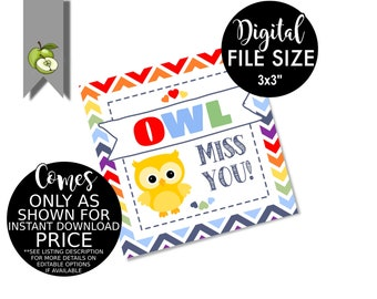 photograph regarding Owl Miss You Printable known as Owl skip oneself Etsy