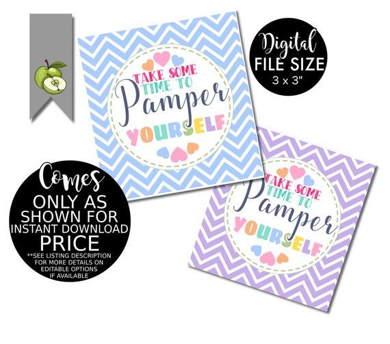 Pamper Yourself Thank You Gift Tag Spa Yourself Gift Tag Etsy
