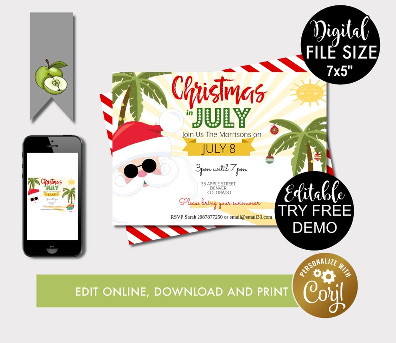 Christmas In July Invitations Free.Christmas In July Party Invitation Calling Beach Lovers Beach Christmas Party Invite Beach Theme Party Gift Exchange Invite Printable