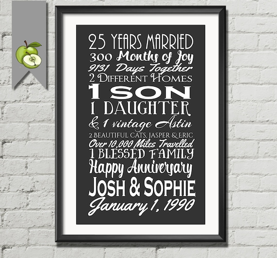 Silver Wedding Anniversary Gifts For Husband: 25th Year Anniversary Gift Silver Wife Husband Subway Art
