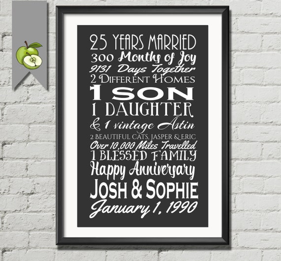 25th Wedding Anniversary Gifts For Wife: 25th Year Anniversary Gift Silver Wife Husband Subway Art