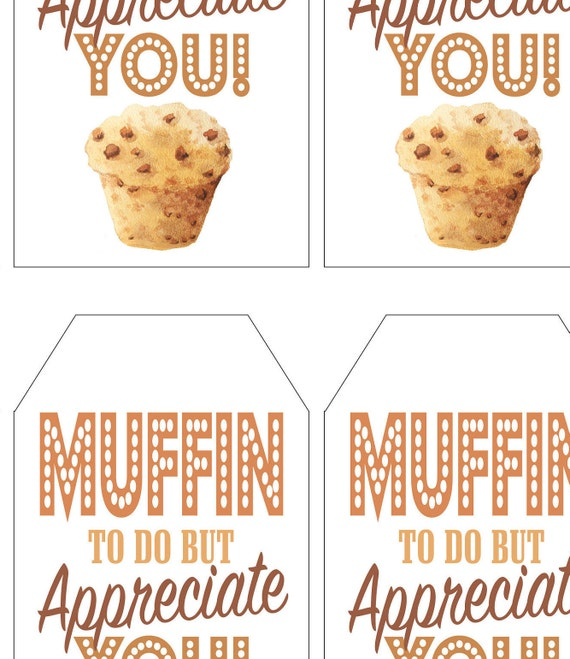 Muffin Tags Appreciation Tags. Appreciation Gift Tag Thank