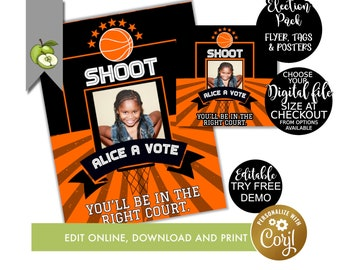 Editable election Basketball campaign poster, class voting flyer, class president, vice president, student election, Voting tag, flyer