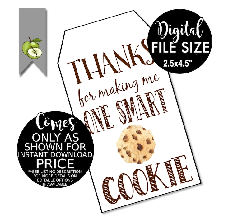 graphic regarding Smart Cookie Printable identified as 1 wise Cookie present tags, Instructor reward, finish of 12 months, One particular intelligent cookie, Instructor reward tag, reward tag, Present Tag, Thank yourself, Printable Down load