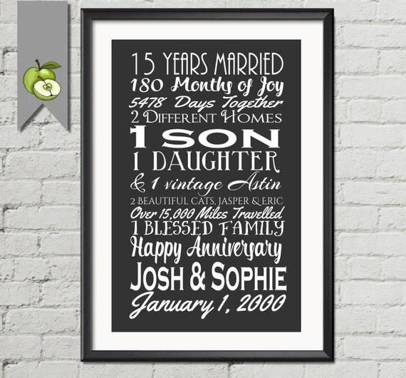 15th Wedding Anniversary Gift For Wife: 15th Wedding Anniversary Subway Print Printable 15th