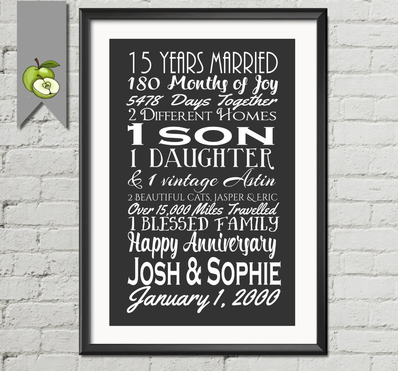 15th Wedding Anniversary.15th Wedding Anniversary Subway Print Printable 15th Anniversary Gift Wife Husband I Love You List 40th 30th 25th Parent Gift