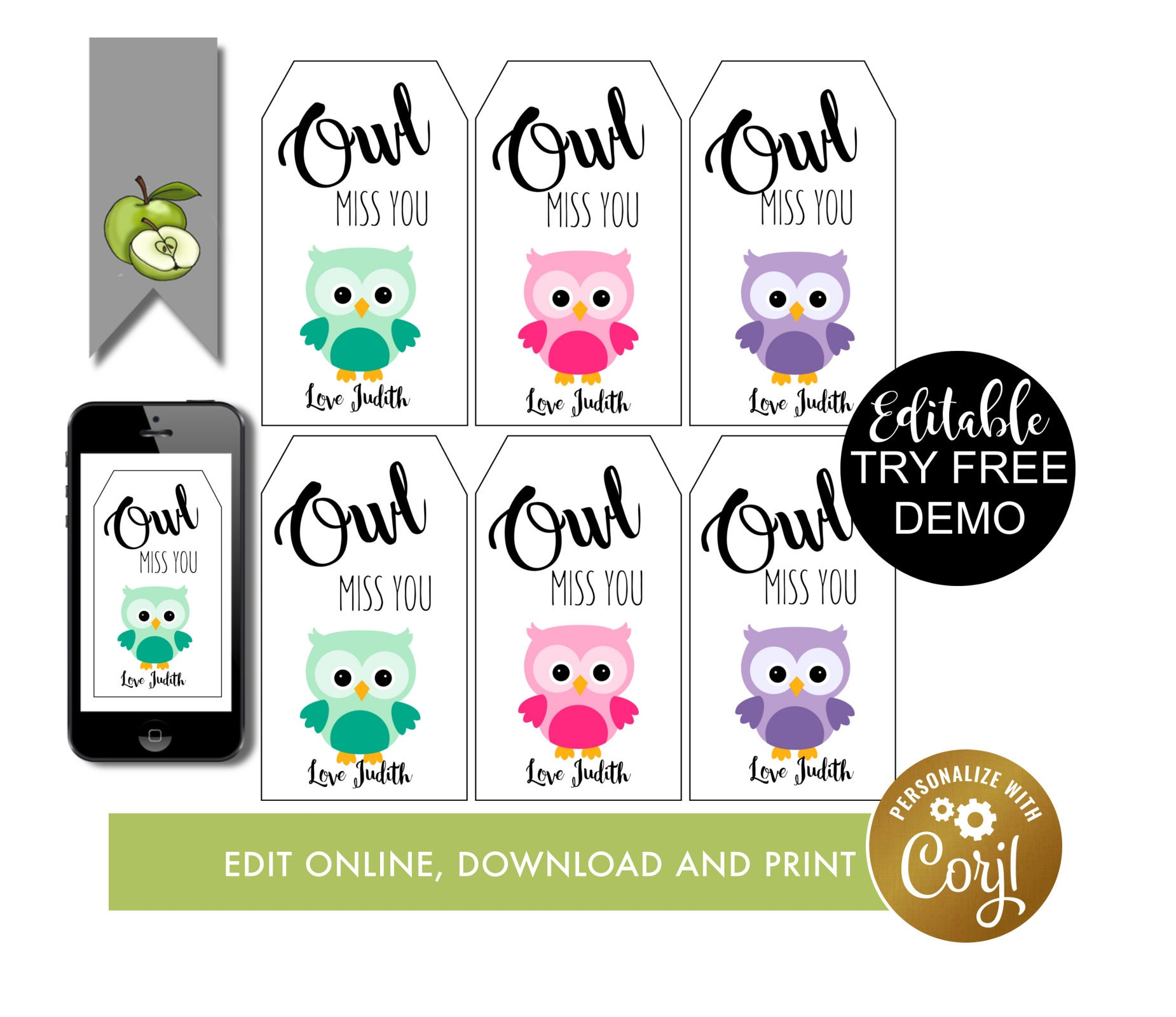 graphic relating to Owl Miss You Printable titled pal owl reward tag, editable owl pass up oneself, leaving tag, past working day of college or university, owl miss out on on your own this summer season, thank your self tag, Trainer tag, Printable