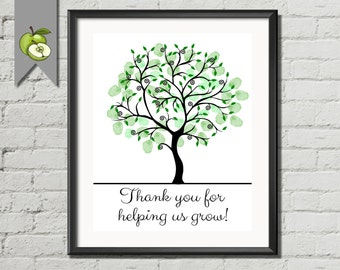 Teacher Appreciation week Gift, Retirement custom Fingerprint Tree, Thank you for helping us grow Tree, DIY printable, family tree christmas