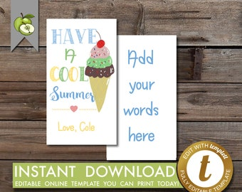 cool summer gift tag, squishies, ice-cream, editable tag, tag, graduation tag, last day of kindergarten, squeeze, Teacher tag, Printable
