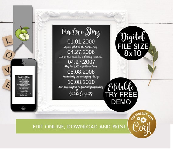 Editable Love Story Important Date Subway Printable Special