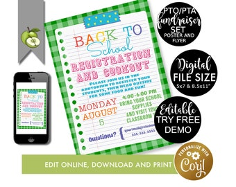 editable back to school cookout party invite, school registration poster, Printable, PTO Fundraiser, PTA event, template, digital download