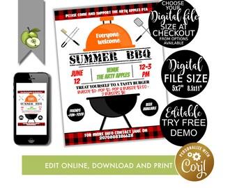 Editable BBQ Template, Bbq theme event poster Template, BBq Grill  poster, event flyer and poster, editable, PTA, PTO Fundraiser, Summer