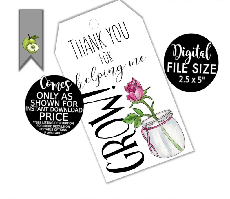 picture regarding You Blew Me Away This Year Free Printable titled Trainer reward tags, thank by yourself for aiding me develop, printable present tag, Trainer reward, stop of yr tag, instructor present, Reward Tag, Thank your self, rose