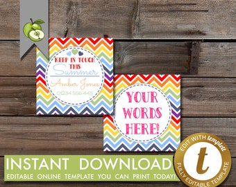 editable keep in touch, summer calling card, mom contact card, templett, kids calling card, KIT Card, printable, end of year, contact card