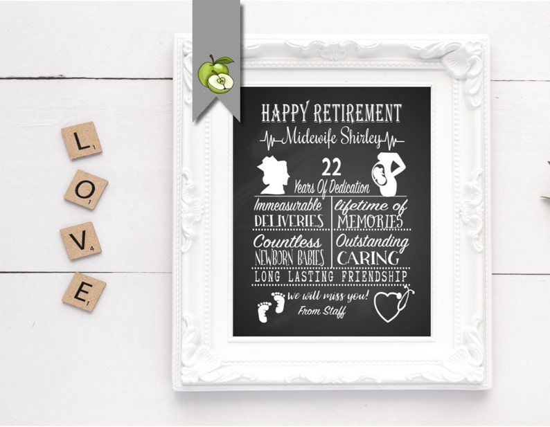 Midwife Retirement poster midwife Leaving Gift Nurse image 0