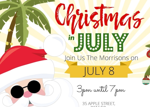 Christmas In July Party Clipart.Christmas In July Party Invitation Calling Beach Lovers Beach Christmas Party Invite Beach Theme Party Gift Exchange Invite Printable