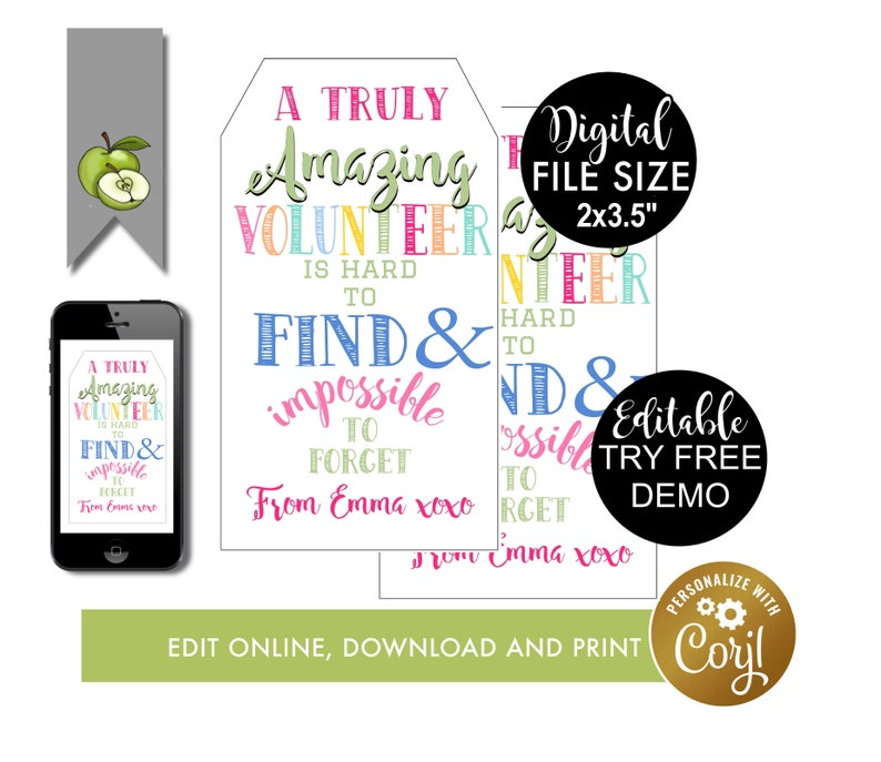 Amazing volunteer, gift tag, editable tag, volunteer Appreciation Gift Tag,  hard to find, Thank you, volunteer Printable, volunteer birthday