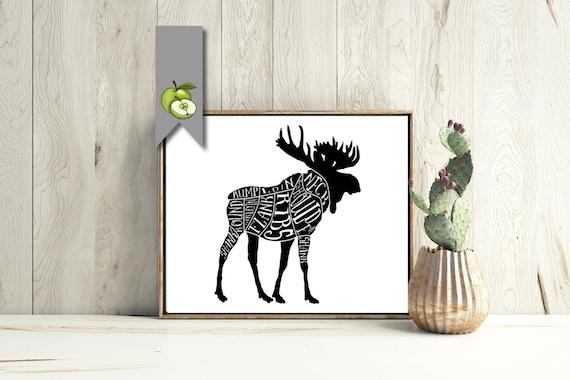 moose hunting art butcher diagram kitchen printable etsyDiagram Of Moose Cuts #12